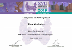 Certificado Dra. lilian Kanda - LATS 2019