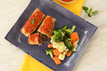 Panqueca integral de carne + Molho cassé + Mix de legumes no vapor