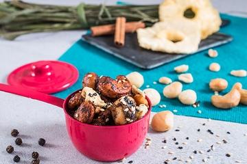 Castanha de caju, amendoim e macadâmia - Thai (apimentado) + Abacaxi + Gergelim