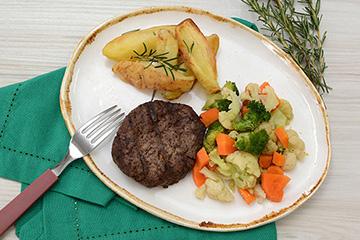 Hambúrguer de fraldinha +Batata rústica com alecrim + Mix de legumes no vapor
