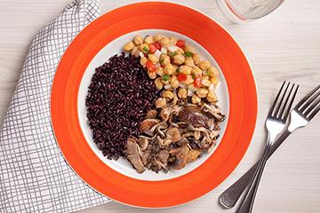Grão de bico + Arroz negro + Mix de cogumelos