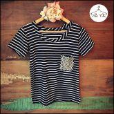 T-shirt Bordada BOLSO Listras | Stripes [ Preta & Branca ]