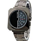 Relógio de Pulso Metálico Ponteiros Circulares