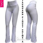 calça branca (P-M-G) modelos flare ou reto, jacquard piquet colmeia