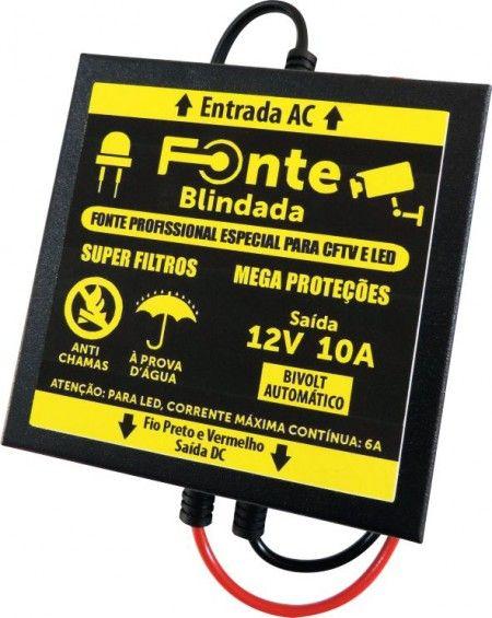 Fonte Blindada 12V x 10A Quadrada Micro