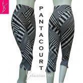 pantacourt/calça capri 48/50, cintura alta, estampa geométrica preto e branco,suplex 360