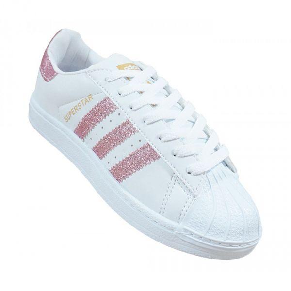 dbe46f2db Tênis Feminino Adidas Superstar Branco e Rosa com Glitter - A Pronta Entrega