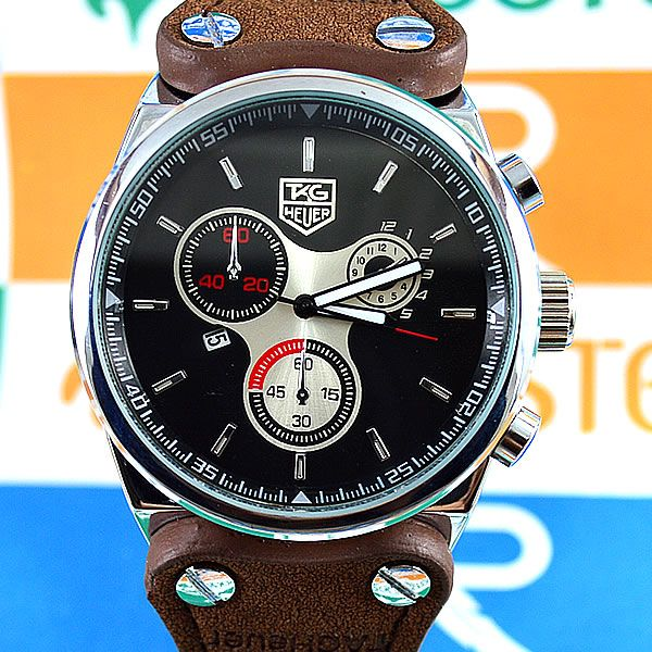 b829fbf6880 Relógio TAG Heuer F1 Prata Fundo Preto Pulseira Couro Marrom Masculino