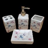 Kit Conjunto Jogo Para Banheiro Em Cerâmica Família Coruja 4 Peças M 321