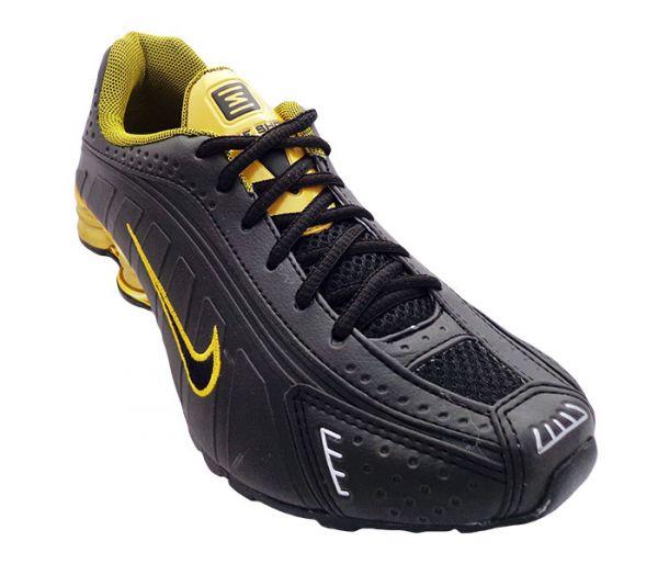 Tênis Nike Shox R4 Cromado Preto Com Dourado