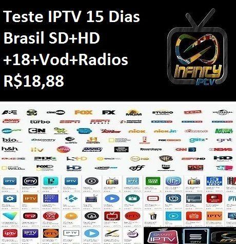 Teste Iptv 15 Dias Brasil SD+HD+18+Vod+Radios - Infinity TV