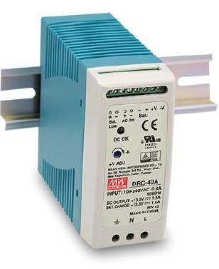 DRC-40A Fonte Chaveada Industrial 13,8V x 1,9A c/ Carregador de Bateria 1A Mean Well