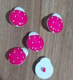 Botões Joaninha Branco com Rosa (12 unidades)