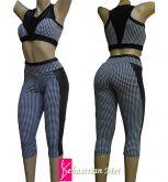 conjunto fitness com bojo (G) preto com detalhes estampadas, suplex com cirrê