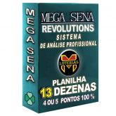 Planilha MEGA-SENA com 13 dezenas em 25 apostas 4, 5 ou 6 pontos 100%