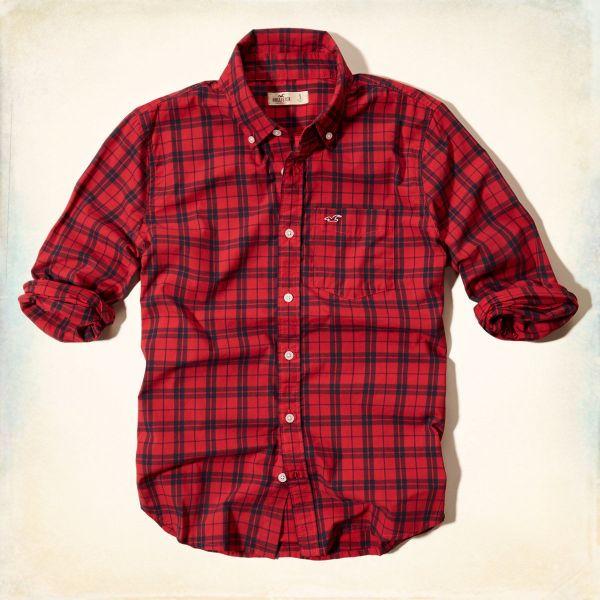 9df21ac4f Camisa Social Hollister Manta Vermelha Original - Loja de ...