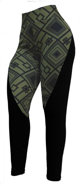 legging estilo montaria(48/50-52/54) plus size, suplex preto e estampa verde militar