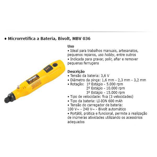 Microrretífica A Bateria Mbv 036 Vonder + Kit