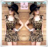 Vestido Animal Print / Oncinha (Laço ombro)