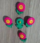 Botões Margarida Verde com Rosa (12 unidades)