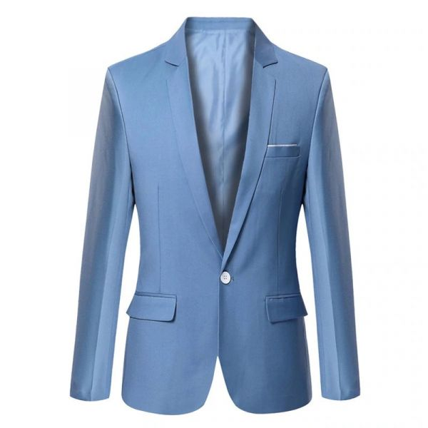 ff1dc9f8ef Blazer Masculino Formal   Solid color   Azul claro - Ref. BL028 ...