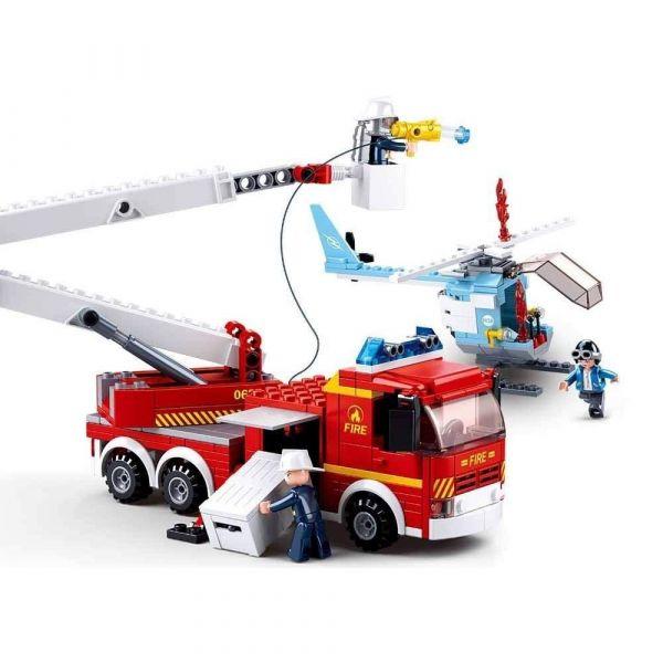 Blocos de Montar - Caminhão de Bombeiros + Helicóptero