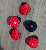 Botões Joaninha Preto com Vermelho (12 unidades)