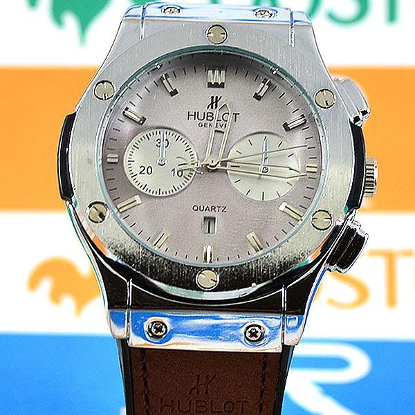 21c2f78af30 Relógio Hublot Geneve Big Bang Prata Pulseira Couro Marrom Masculino ...