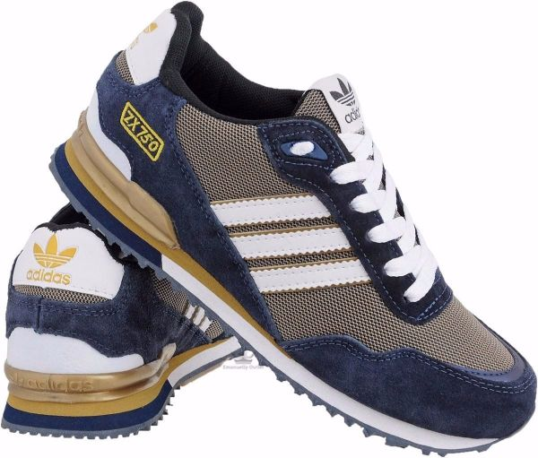 Tênis Adidas ZX 750 Creme c  Azul - Outlet Ser Chic 0912fc0eb33
