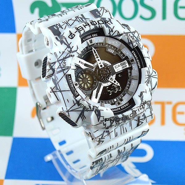 22b25fa3b47 Relógio Casio G Shock GA-110 Branco Rajados Cinza Masculino à prova d´água