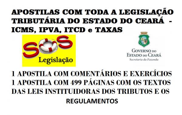 APOSTILAS DIGITAIS DE LEGISLAÇÃO TRIBUTÁRIA DO ESTADO DO CEARÁ - PDF