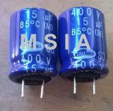 ELETROLÍTICO 15X400 15uFX400V 85º 13X18mm SAMWHA