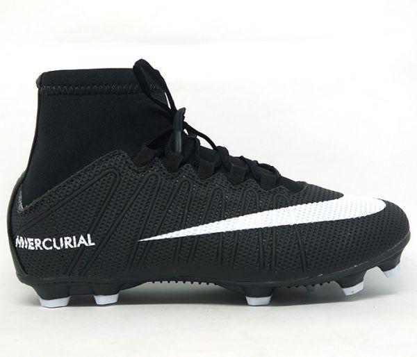 Chuteira Nike Mercurial Cano Alto Campo Preto e Branco - AGP Roupas ... ef8e616a8640c