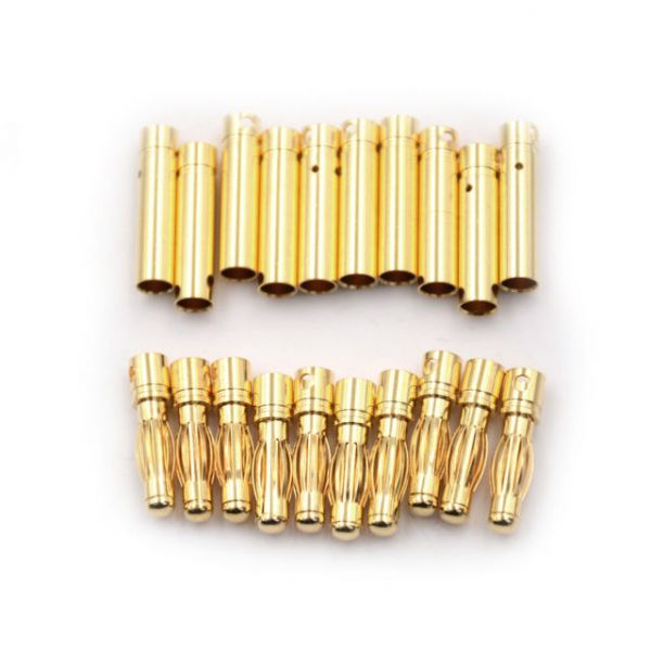 10 Pares Conector Bullet Gold 4mm (10 Fêmea & 10 Macho)