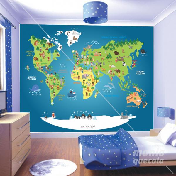 Painel Adesivo - Mapa Mundi Infanti