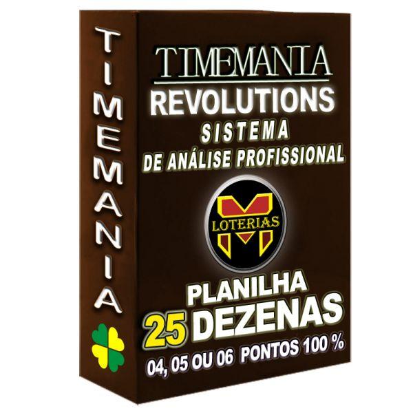 Planilha TIMEMANIA - Aposte Com 25 Dezenas, 5 Ou 6 pontos 100%