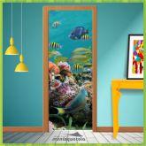 Adesivo Porta - Aquário Peixes - Natureza 005