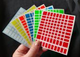 Yuxin 9x9 HuangLong 90mm cores Half Bright com adesivos extras