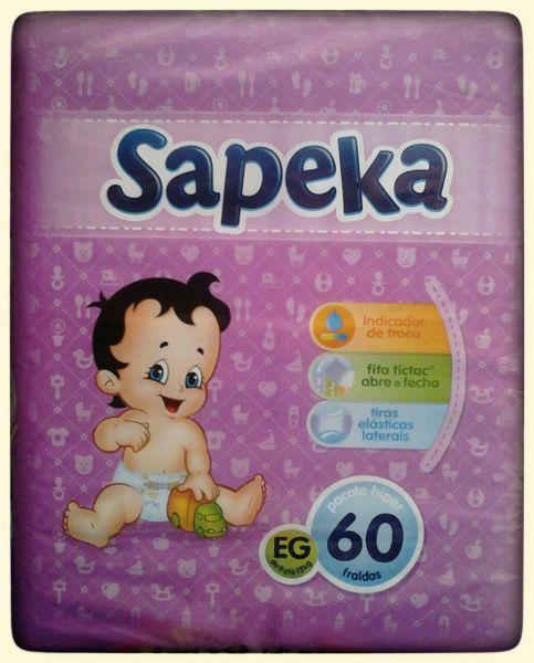 ef902425a Fralda Sapeka HIPER Tamanho EG - 60 UND - Baby Top Fraldas