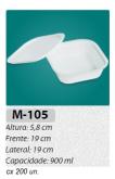 M-105 BANDEJA C/ TAMPA 900 ML C/ 200 UN.