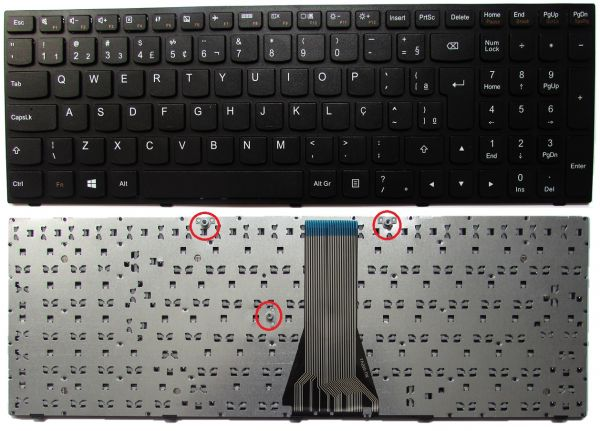 INDISPONÍVEL Teclado Para Lenovo G50-30 G50-45 G50-80 Ç Preto Pk130th3b13