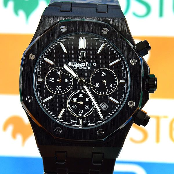 0cf0d9d93fe Relógio Audemars Piguet Royal Oak Funcional Preto Pulseira Aço Masculino À  prova d´água