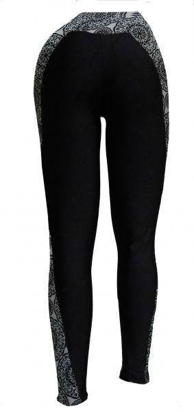 legging estilo montaria(48/50-52/54), suplex preto e estampado preto e branco