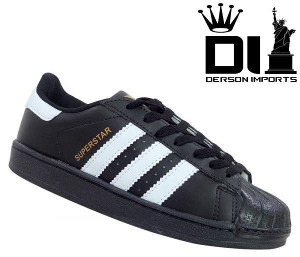 99b864d53 Tênis Adidas Superstar Preto e Branco - ESTILO IMPORTADO-DERSON IMPORTS