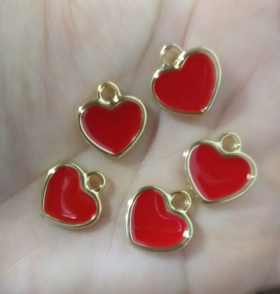 Pingente Coração Dourado com vermelho (Unidade)