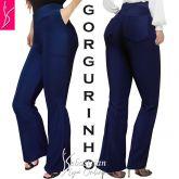 calça azul com bolsos(64/66) plus size,gorgurinho, alta elasticidade
