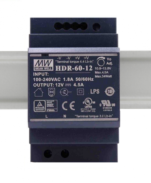 HDR-60-12 Fonte Chaveada Industrial p/ Trilho DIN 12V / 4,5A Mean Well
