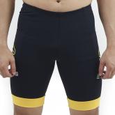 Bermuda Masculina Compressão c/ Bolsos Preta + Punho Amarelo - Emana