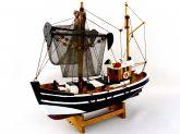 Barco Pesqueiro Decorativo 30 Cm - Em Madeira 30 x 27 cm Preto - Decor Glass