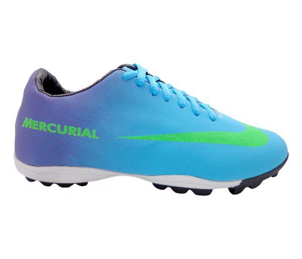 Chuteira Society Nike Mercurial Roxo e Azul Bebê - JL Calçados 0f0420115d6f7